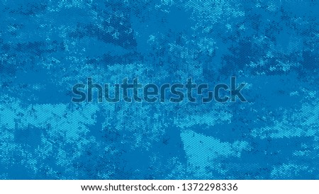 Halftone Grainy Texture with Grunge Dots and Spots. Cartoon Vintage Pattern. Polka Dots Style Texture. Blue Broken, Spotted Print Design Pattern. #1372298336