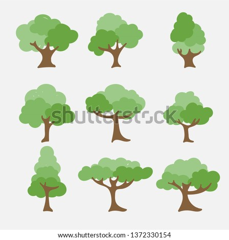 Set of abstract stylized trees. Natural illustration.  #1372330154