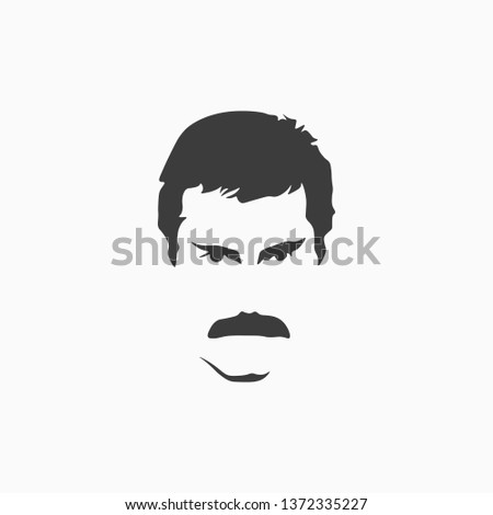 Vector portrait of celebrity isolated on white background. Icon of a man's face with a mustache. Vector illustration