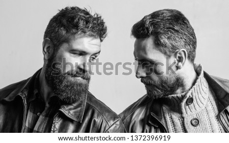 Masculine and brutal friends. Bully team. Masculinity and brutality. Feel confident in brutal leather clothes. Brutal men wear leather jackets. Men brutal bearded hipster. Handsome stylish and cool. #1372396919