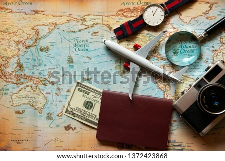 Tourism planning equipment for trip and accessories , Holidays vacations summer  concept, top view. #1372423868