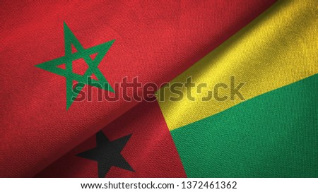 Morocco and Guinea-Bissau two flags textile cloth, fabric texture #1372461362