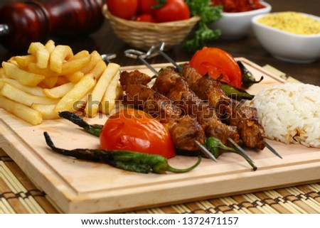 Turkish Shish kebab - Grilled beef meat on skewers #1372471157