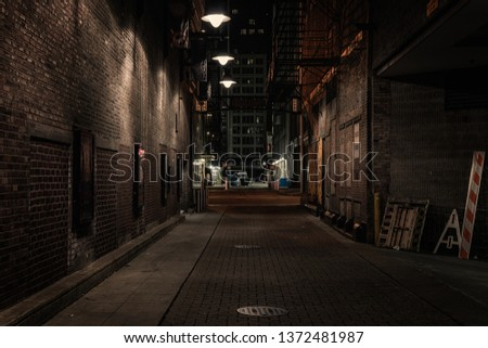 Chicago alley at night Royalty-Free Stock Photo #1372481987