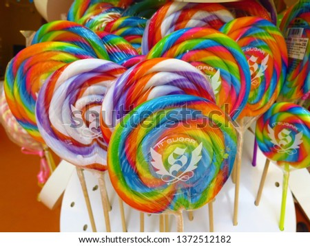Rockville, Maryland / USA - April 2019: It's Sugar Lollipops for sale at a retail store.  #1372512182