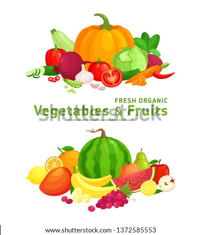 Vector illustration with fresh organic  vegetables and fruits isolated on white background. Healthy Food. Set of vegetarian sliced, full, half vegetables and fruits. Healthy lifestyle or diet concept. Royalty-Free Stock Photo #1372585553