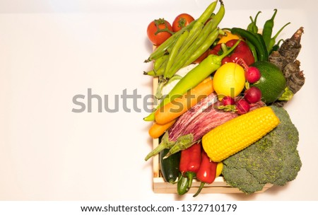 Various vegetables and fruits isolated on white background, top view, flat layout. Concept of healthy eating, food background. Frame of vegetables with space for text. #1372710179
