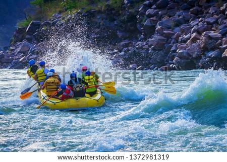 Rafting stunt while whitewater rafting Rishikesh India  #1372981319