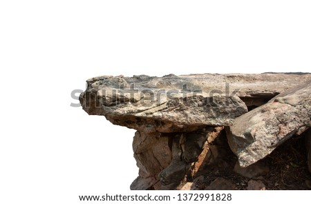 Cliff stone located part of the mountain rock isolated on white background. #1372991828