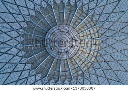 Roofing of railway station steel frame structure  Royalty-Free Stock Photo #1373038307
