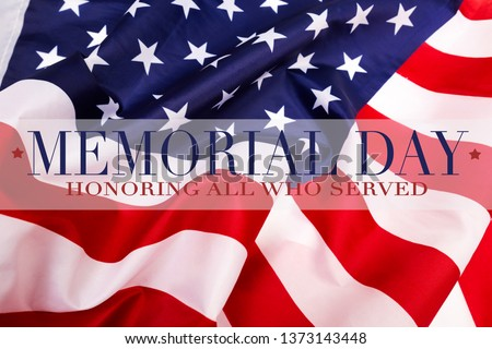Text Memorial Day on American flag background - Image #1373143448