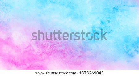 Light blue, purple and pink shades watercolor background for vintage card, retro templates. Beautiful fantasy colorful aquarelle paper textured ink effect grungy wet pastel illustration for design #1373269043