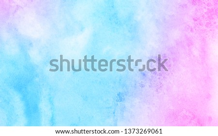 Light blue, purple and pink shades watercolor background for vintage card, retro templates. Beautiful fantasy colorful aquarelle paper textured ink effect grungy wet pastel illustration for design #1373269061