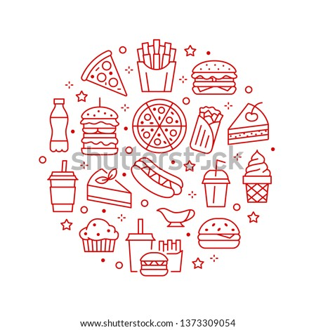 Fast food circle illustration with flat line icons. Thin vector signs for restaurant menu poster - burger, french fries, soda, pizza, hot dog, cheesecake, coffee, ice cream. Junk food concept. Royalty-Free Stock Photo #1373309054
