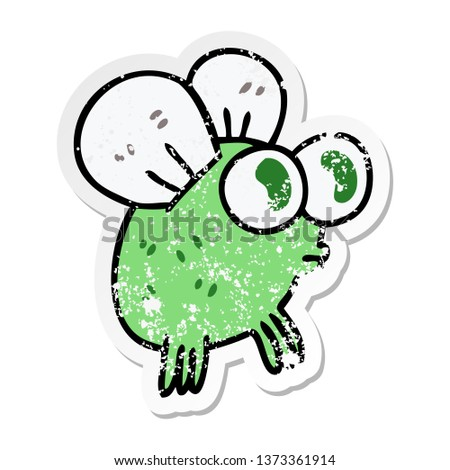 distressed sticker of a quirky hand drawn cartoon fly #1373361914