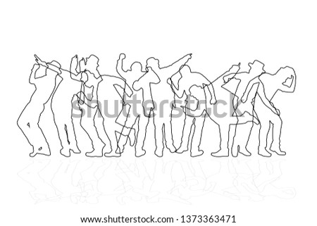 Line group of people dancing on white background. Happy celebration concept. Eps10 Vector illustration. #1373363471