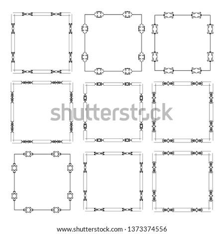 set of vector vintage frames on a white background #1373374556
