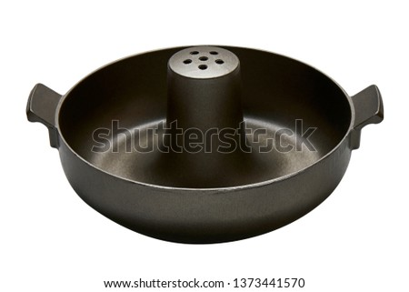 Sizzling pot with handle, Cast Iron pot with venting holes isolated on white background with clipping path, Side view                               #1373441570