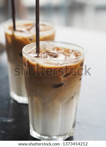 two glasses of Ice Latte #1373454212