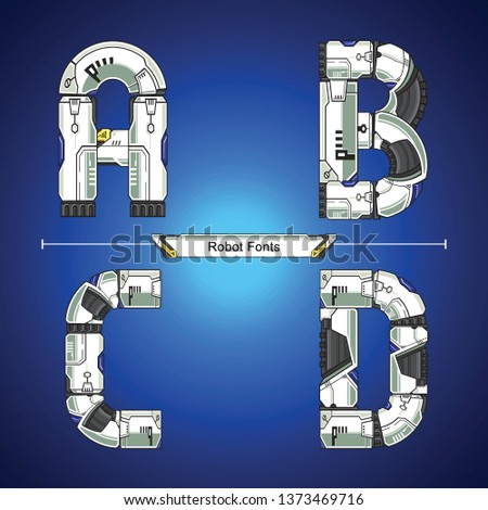 Vector graphic alphabet in a set A,B,C,D, with Abstract Robot white set style futuristic technology and modern. Typography design for posters, logos, cover, etc. #1373469716