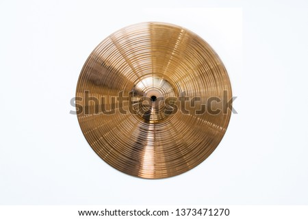 Drum plate, drum set on a white background, musical cymbals top view #1373471270