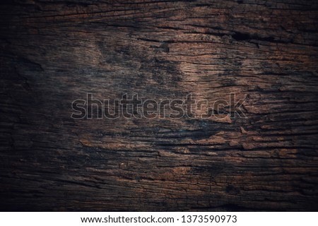 Texture and pattern of old dark brown wood.Old wood concept in vintage tone  #1373590973