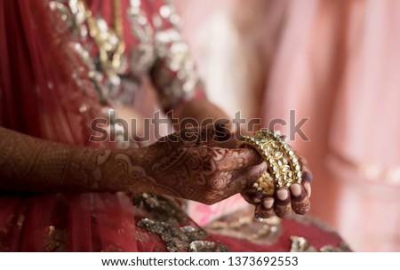 Indian bridal bridal wearing wedding bangles #1373692553
