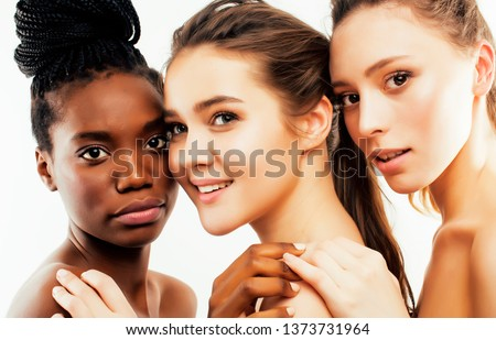 different nation woman: african-american, caucasian, asian together isolated on white background happy smiling, diverse type on skin, lifestyle people concept close up #1373731964