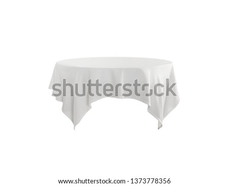 Round white tablecloth Isolated on white background
