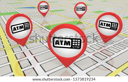ATM Automated Teller Machine Bank Withdraw Map Pin Icons Locations 3d Illustration