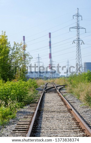 technogenic landscape, high-voltage power lines. The natural complex here has undergone an intensive technogenic impact during the entire period of the existence of the plants #1373838374