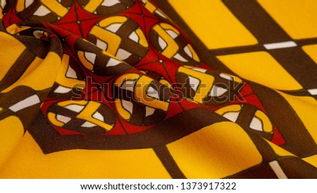 Background texture. silk bright fabric Mosaic geometric shapes Composition with colorful stained glass Grid design Illustration red yellow brown colors #1373917322