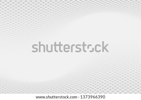 Grey backdrop with dynamic square halftone. Wavy grey square halftone background. Abstract monochrome illustrated graphic design. #1373966390