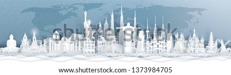 Panorama postcard and travel poster of world famous landmarks of Europe, Asia and America in paper cut style vector illustration #1373984705
