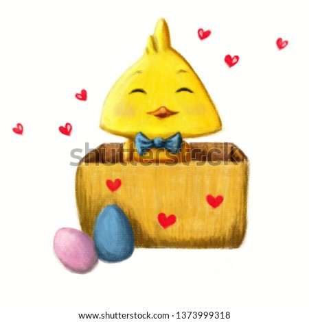 Little Easter duck (chicken) in box, with two colored eggs, hearts on a white background #1373999318