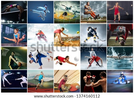 Sport collage about table tennis, badminton, gymnastics, boxing, volleyball, soccer and american football, taekwondo, figure skating, ski slalom, basketball, swimming, judo, jump, fencing concept. Fit #1374160112