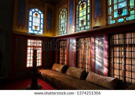 BAKHCHISARAY, CRIMEA, UKRAINE - SEP 8, 2013. The interior of the Bakhchisaray Palace (Hansaray) the residence of the Crimean khans XVI century. Harem, living room #1374251306
