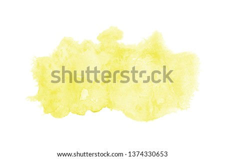Abstract watercolor background image with a liquid splatter of aquarelle paint, isolated on white. Yellow tones #1374330653