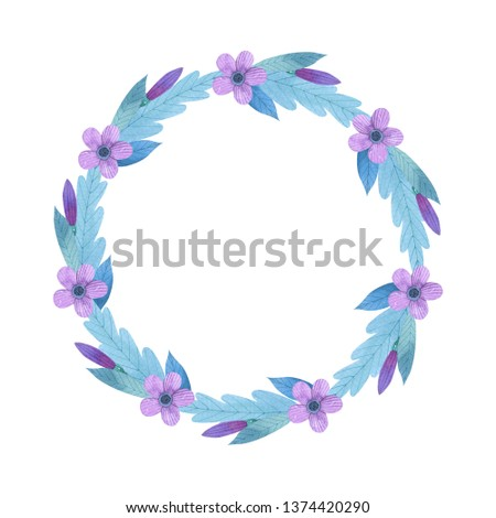 Hand painted wreath with pink and purple watercolor flowers, leaves. Isolated objects on a white background. Floral clip art perfect for card making, for Mother's day card, wedding invitation