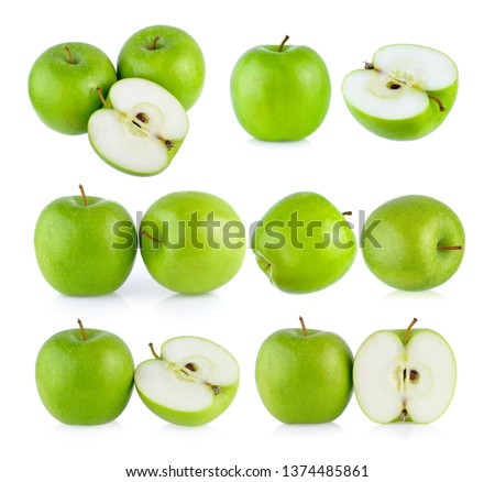 set of green apple on white background #1374485861