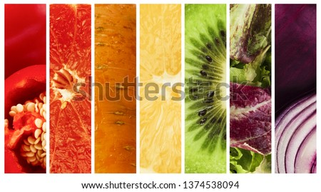Summer food collage. Collection of ripe colorful fruits and vegetables, panorama #1374538094