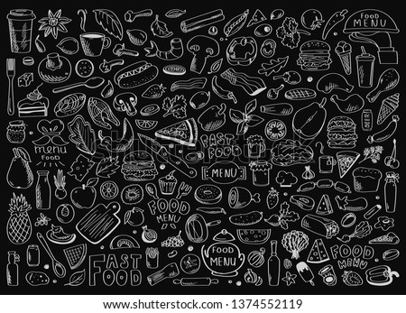 Hand drawn set of healthy food ingredient doodles with lettering in vector Royalty-Free Stock Photo #1374552119