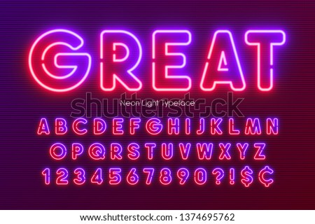Neon light alphabet, multicolored extra glowing font. Exclusive swatch color control. #1374695762