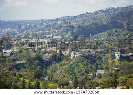 Aerial photo Hollywood Beverly Hills homes #1374732068