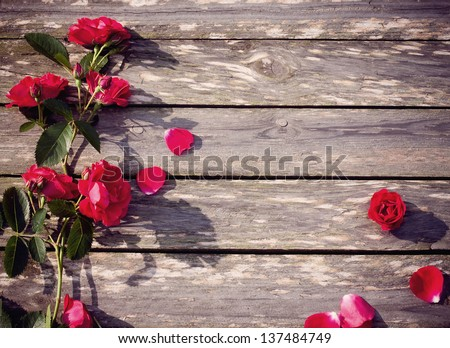 roses on wooden background #137484749