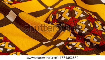 Background texture. silk bright fabric Mosaic geometric shapes Composition with colorful stained glass Grid design Illustration red yellow brown colors #1374853832