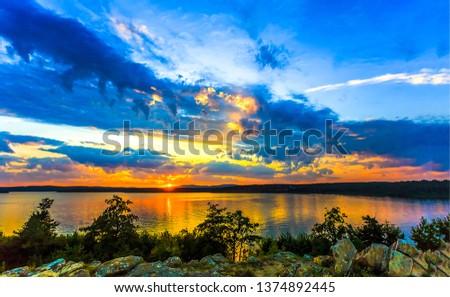 Sunset river horizon landscape. River sunset horizon view. Horizon sunset river panorama. Horizon river sunset landscape #1374892445