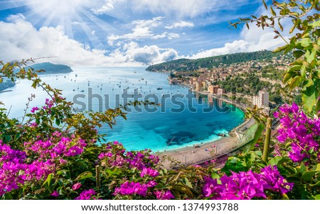 Aerial view of French Riviera coast with medieval town Villefranche sur Mer, Nice region, France #1374993788