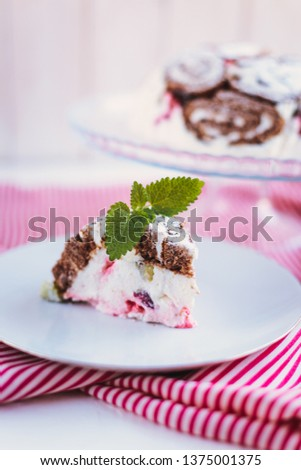 Cake with souffle and berries #1375001375