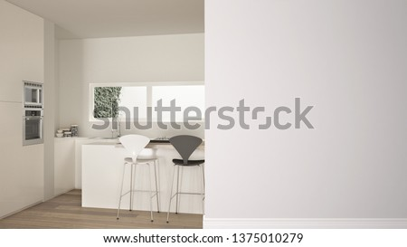 Modern white and wooden kitchen with island and stools on a foreground wall, interior design architecture idea, concept with copy space, blank background, 3d illustration #1375010279